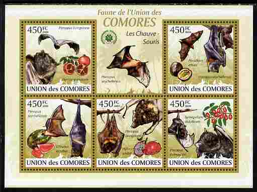 Comoro Islands 2009 Bats perf sheetlet containing 5 values unmounted mint Yv 1646-50