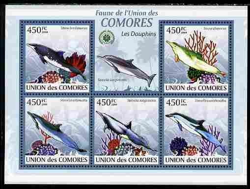Comoro Islands 2009 Dolphins perf sheetlet containing 5 values unmounted mint Yv 1656-60