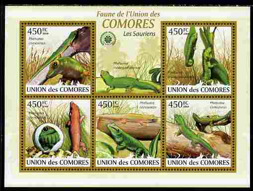 Comoro Islands 2009 Lizards perf sheetlet containing 5 values unmounted mint Yv 1661-65