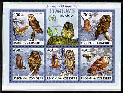 Comoro Islands 2009 Owls perf sheetlet containing 5 values unmounted mint Yv 1666-70