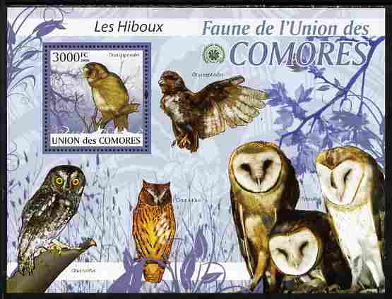 Comoro Islands 2009 Owls perf s/sheet unmounted mint Yv 200, stamps on birds, stamps on birds of prey, stamps on owls