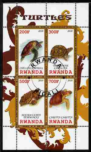 Rwanda 2010 Turtles perf sheetlet containing 4 values fine cto used