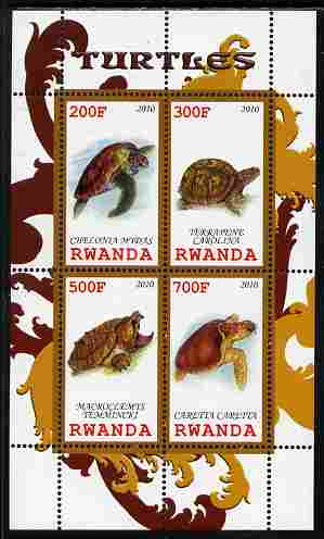 Rwanda 2010 Turtles perf sheetlet containing 4 values unmounted mint