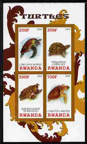 Rwanda 2010 Turtles imperf sheetlet containing 4 values unmounted mint