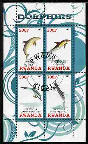 Rwanda 2010 Dolphins perf sheetlet containing 4 values fine cto used
