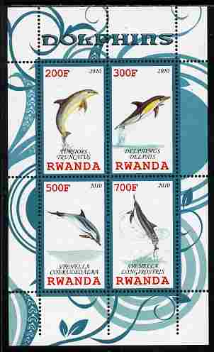 Rwanda 2010 Dolphins perf sheetlet containing 4 values unmounted mint