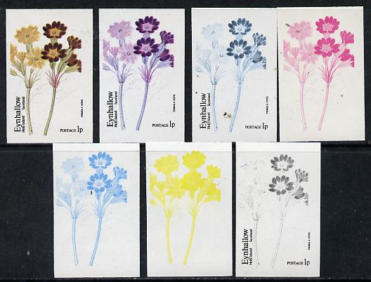 Eynhallow 1974 Flowers #01 - 1p (Primula) set of 7 imperf progressive colour proofs comprising the 4 individual colours plus 2, 3 and all 4-colour composites unmounted mi...