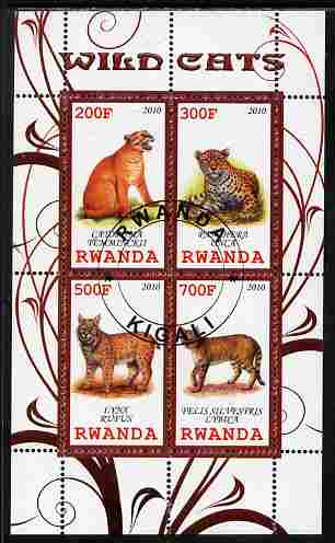 Rwanda 2010 Wild Cats perf sheetlet containing 4 values fine cto used