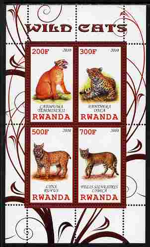 Rwanda 2010 Wild Cats perf sheetlet containing 4 values unmounted mint