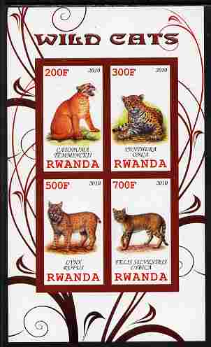 Rwanda 2010 Wild Cats imperf sheetlet containing 4 values unmounted mint