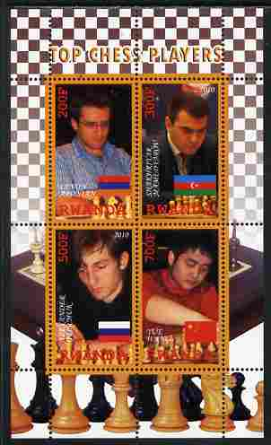 Rwanda 2010 Top Chess Players #2 perf sheetlet containing 4 values unmounted mint