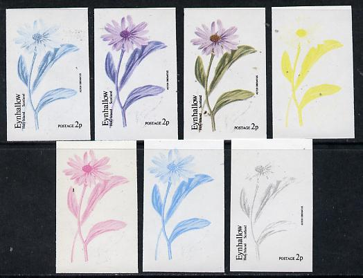 Eynhallow 1974 Flowers #01 - 2p (Aster) set of 7 imperf progressive colour proofs comprising the 4 individual colours plus 2, 3 and all 4-colour composites unmounted mint
