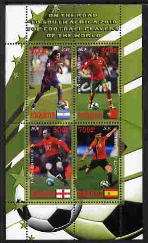 Rwanda 2010 Football World Cup - FIFA Top Players #1 perf sheetlet containing 4 values unmounted mint