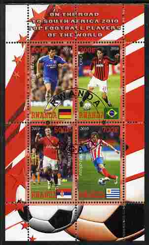 Rwanda 2010 Football World Cup - FIFA Top Players #3 perf sheetlet containing 4 values fine cto used