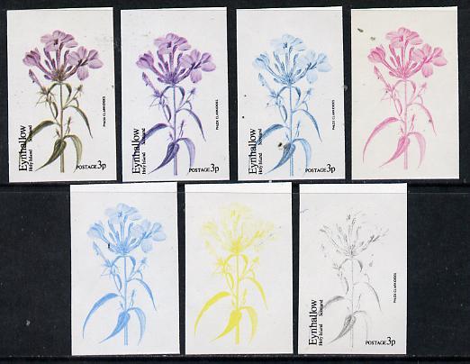 Eynhallow 1974 Flowers #01 - 3p (Phlox Clarkioides) set of 7 imperf progressive colour proofs comprising the 4 individual colours plus 2, 3 and all 4-colour composites un...