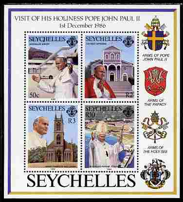 Seychelles 1986 Visit of Pope John Paul perf m/sheet unmounted mint, SG MS 658