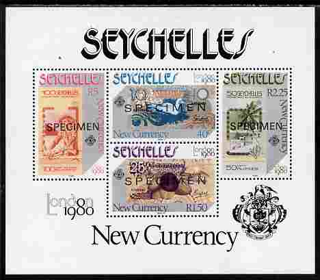 Seychelles 1980 London 1980 Stamp Exhibition - Currency Notes perf m/sheet overprinted SPECIMEN unmounted mint, SG MS 472s