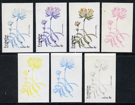 Eynhallow 1974 Flowers #01 - 4p (Anthyllis Vulneria) set of 7 imperf progressive colour proofs comprising the 4 individual colours plus 2, 3 and all 4-colour composites u...