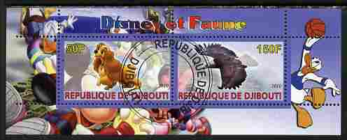 Djibouti 2010 Disney & Fauna #1 perf sheetlet containing 2 values fine cto used