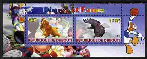 Djibouti 2010 Disney & Fauna #1 perf sheetlet containing 2 values unmounted mint