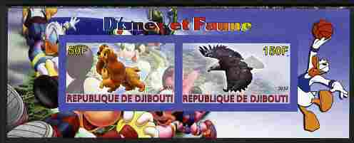 Djibouti 2010 Disney & Fauna #1 imperf sheetlet containing 2 values unmounted mint