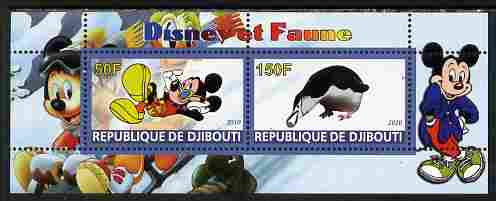 Djibouti 2010 Disney & Fauna #2 perf sheetlet containing 2 values unmounted mint