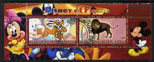 Djibouti 2010 Disney & Fauna #3 perf sheetlet containing 2 values fine cto used