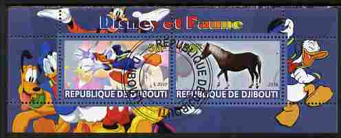 Djibouti 2010 Disney & Fauna #4 perf sheetlet containing 2 values fine cto used