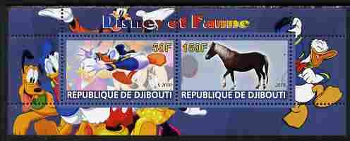 Djibouti 2010 Disney & Fauna #4 perf sheetlet containing 2 values unmounted mint