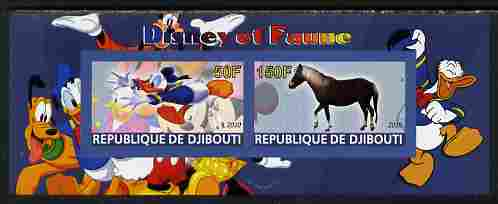 Djibouti 2010 Disney & Fauna #4 imperf sheetlet containing 2 values unmounted mint