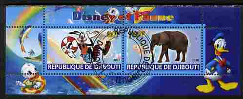Djibouti 2010 Disney & Fauna #5 perf sheetlet containing 2 values fine cto used