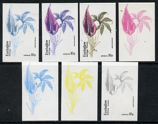 Eynhallow 1974 Flowers #01 - 10p (Arum Dracunculus) set of 7 imperf progressive colour proofs comprising the 4 individual colours plus 2, 3 and all 4-colour composites unmounted mint