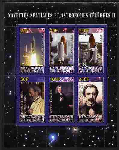 Djibouti 2010 Space Launches & Astronomers #2 perf sheetlet containing 6 values unmounted mint