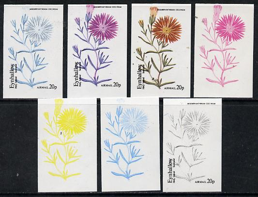 Eynhallow 1974 Flowers #01 - 20p (Mesembryanthemum) set of 7 imperf progressive colour proofs comprising the 4 individual colours plus 2, 3 and all 4-colour composites unmounted mint
