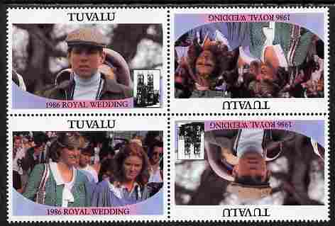 Tuvalu 1986 Royal Wedding (Andrew & Fergie) $1 perf tete-beche block of 4 (2 se-tenant pairs) with face value omitted unmounted mint SG 399-400var