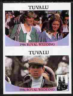 Tuvalu 1986 Royal Wedding (Andrew & Fergie) $1 imperf se-tenant pair with face value omitted unmounted mint SG 399-400var