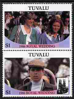 Tuvalu 1986 Royal Wedding (Andrew & Fergie) $1 se-tenant pair overprinted SPECIMEN in silver (Upright caps 17.5 x 2.5 mm) unmounted mint SG 399-400s from Printer's uncut proof sheet