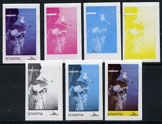 Staffa 1974 Water Birds #01 Kittiwake 1/2p set of 7 imperf progressive colour proofs comprising the 4 individual colours plus 2, 3 and all 4-colour composites unmounted mint