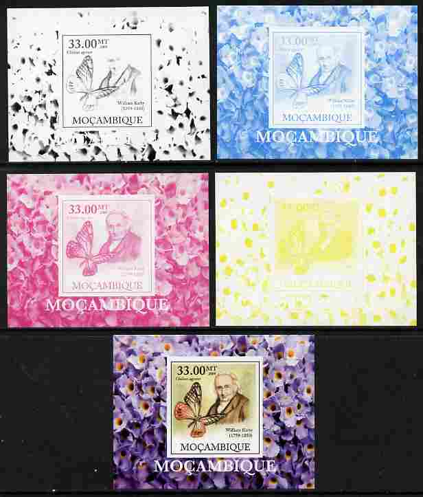 Mozambique 2009 William Kirby Butterflies & Insects #6 individual deluxe sheetlet - the set of 5 imperf progressive proofs comprising the 4 individual colours plus all 4-colour composite, unmounted mint