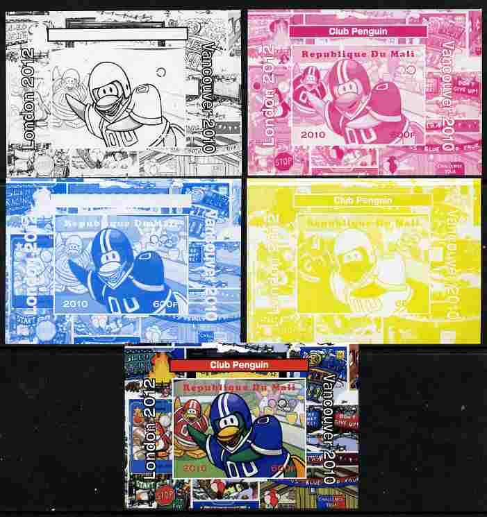 Mali 2010 Olympic Games - Disney Club Penguin #2 individual deluxe sheetlet - the set of 5 imperf progressive proofs comprising the 4 individual colours plus all 4-colour composite, unmounted mint