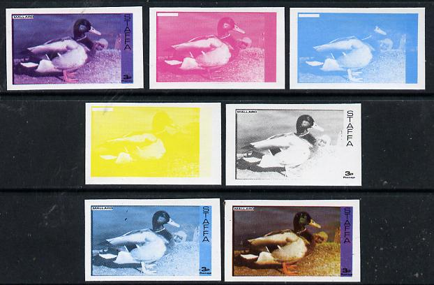 Staffa 1974 Water Birds #01 Mallard 3p set of 7 imperf progressive colour proofs comprising the 4 individual colours plus 2, 3 and all 4-colour composites unmounted mint