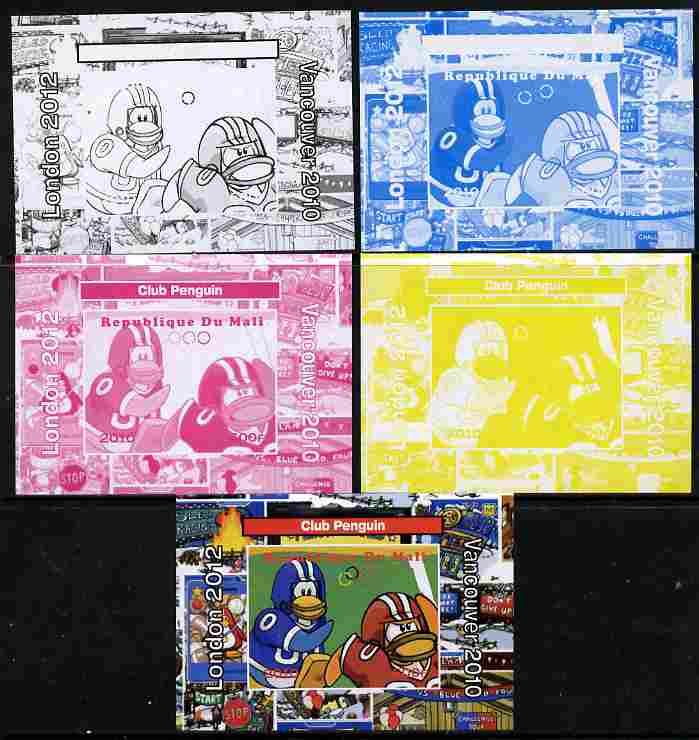 Mali 2010 Olympic Games - Disney Club Penguin #5 individual deluxe sheetlet - the set of 5 imperf progressive proofs comprising the 4 individual colours plus all 4-colour composite, unmounted mint
