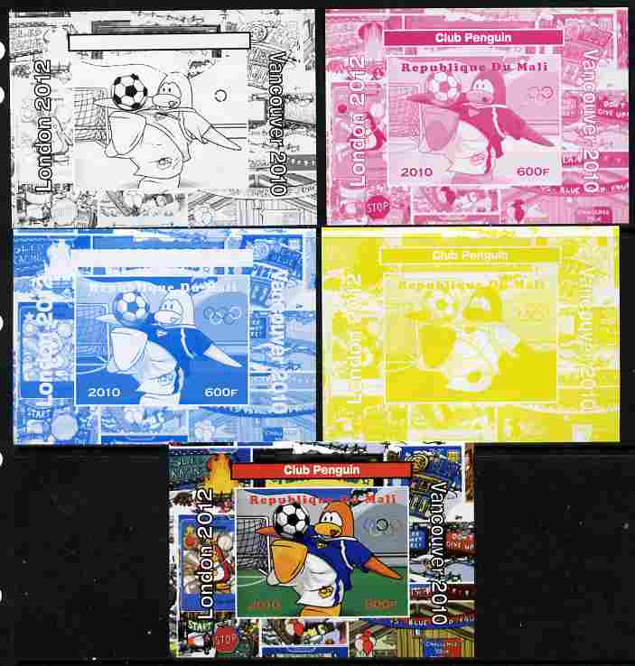 Mali 2010 Olympic Games - Disney Club Penguin #6 individual deluxe sheetlet - the set of 5 imperf progressive proofs comprising the 4 individual colours plus all 4-colour composite, unmounted mint