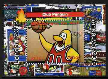 Mali 2010 Olympic Games - Disney Club Penguin #7 individual perf deluxe sheetlet unmounted mint. Note this item is privately produced and is offered purely on its thematic appeal