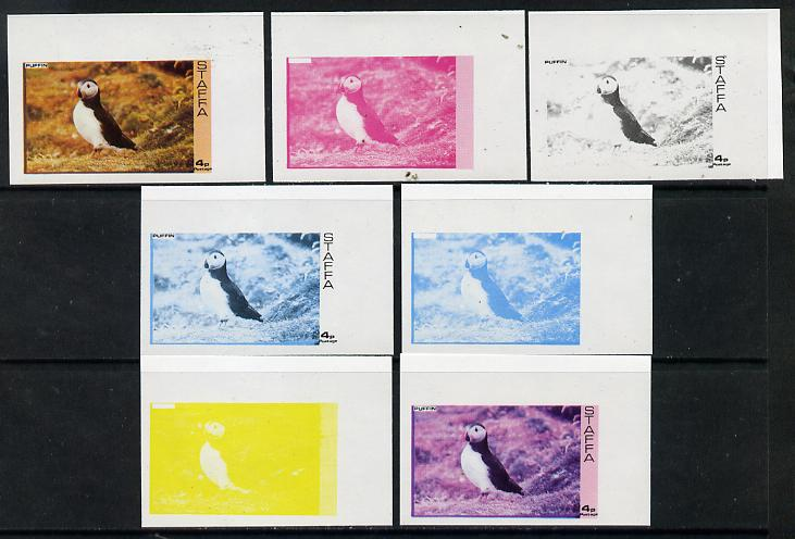 Staffa 1974 Water Birds #01 Puffin 4p set of 7 imperf progressive colour proofs comprising the 4 individual colours plus 2, 3 and all 4-colour composites unmounted mint