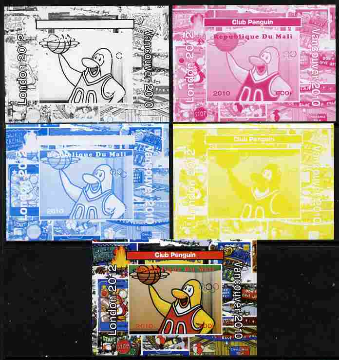 Mali 2010 Olympic Games - Disney Club Penguin #7 individual deluxe sheetlet - the set of 5 imperf progressive proofs comprising the 4 individual colours plus all 4-colour composite, unmounted mint