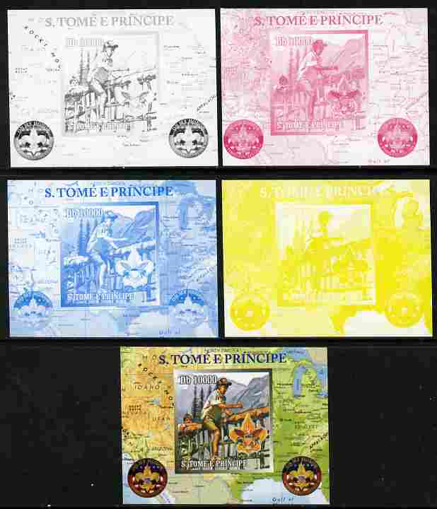 St Thomas & Prince Islands 2010 Centenary of Scouting in America #1 individual deluxe sheetlet - the set of 5 imperf progressive proofs comprising the 4 individual colours plus all 4-colour composite, unmounted mint