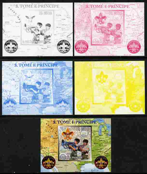 St Thomas & Prince Islands 2010 Centenary of Scouting in America #3 individual deluxe sheetlet - the set of 5 imperf progressive proofs comprising the 4 individual colours plus all 4-colour composite, unmounted mint