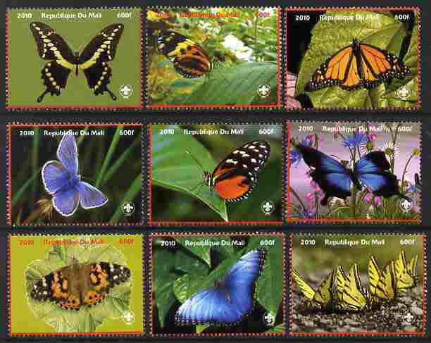 Mali 2010 Butterlies perf set of 9 values each with Scouts Logo, unmounted mint