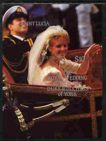 St Lucia 1986 Royal Wedding (Andrew & Fergie) $10 m/sheet imperf overprinted SPECIMEN unmounted mint
